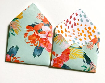 Flat Card Stationery, Mini envelopes, blank note cards, mini cards, gift tags with envelopes, patterned envelopes, floral stationery cards