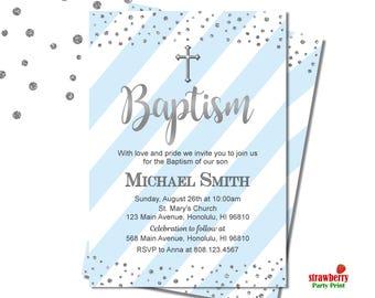 Baptism Invitation Boy, Blue & Silver Baptism Invitation, Christening Invitation, Baby Dedication Religious Invite, Customize Invitation, R4