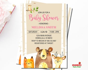 Woodland Baby Shower Invitation Girl, Forest Animals, Winter Woodland, Personalized Printable Invitation, C59