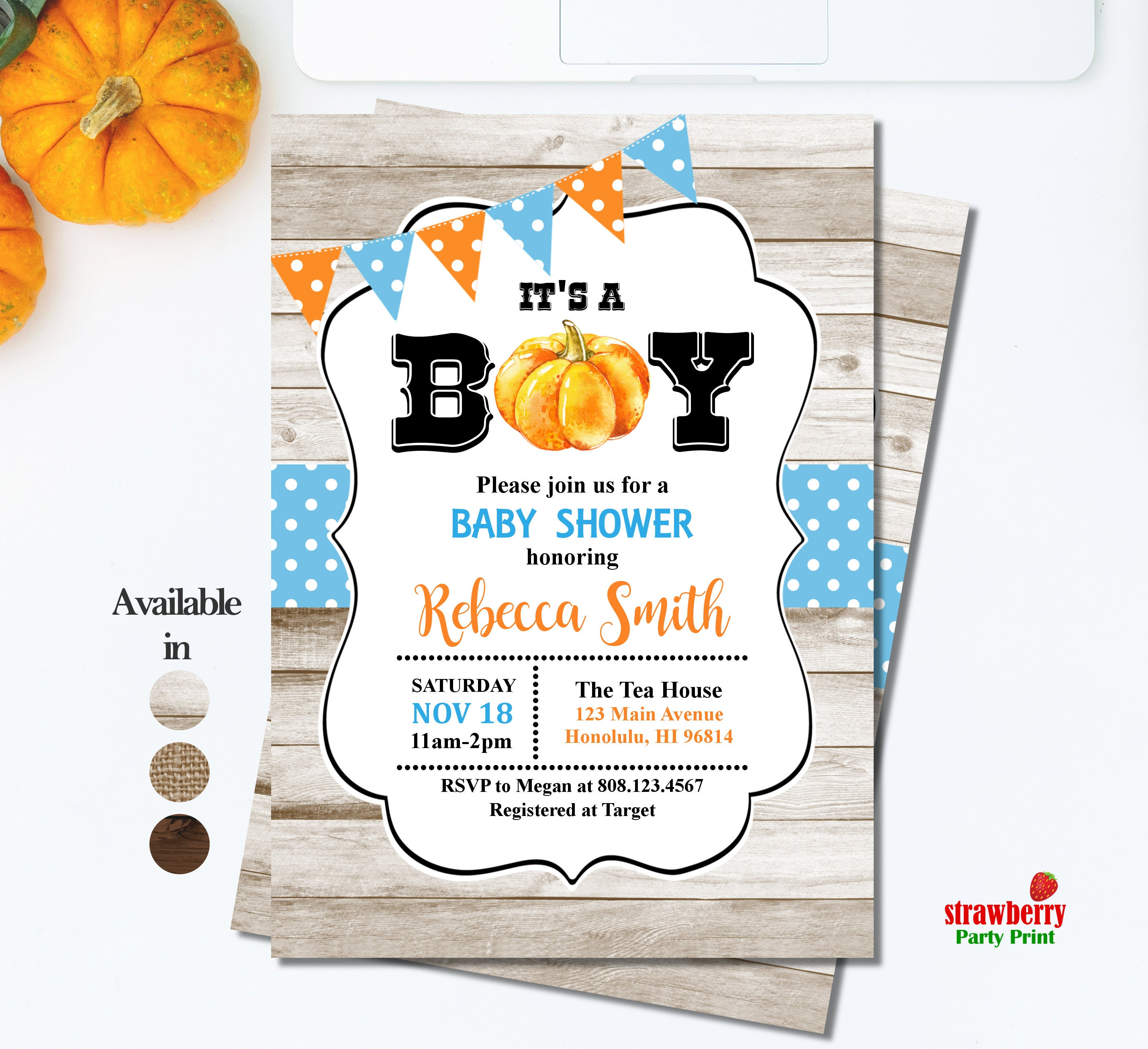 Halloween Baby Shower Invitation. Little Pumpkin Baby Shower ...