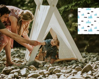 Play A-Frame Tent Teepee Blue, Black White Geo Mountain Distressed Rustic