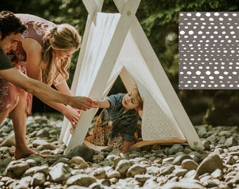 Play A-Frame Tent Teepee Grey White Stone Print Rustic Distressed