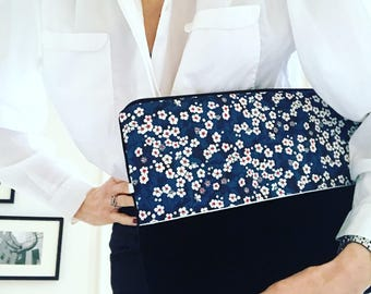 Laptop sleeve 13 inch / Macbook case / Navy Blue Velvet / swarowski charm / fabric liberty of london