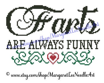 Farts are always funny / Cross Stitch Chart Pattern / Counted Thread / Digital Download PDF