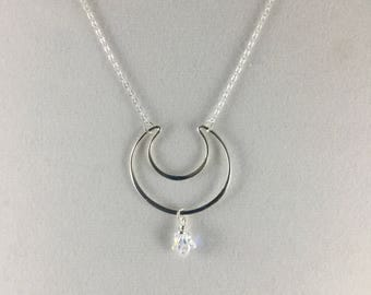 Sterling crescent moon pendant with star crystal