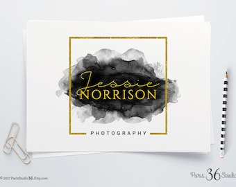 Instant Download Logo Photography Logo Gold Foil Logo Square Logo Watercolor Photoshop Logo PSD Logo Template Premade Logo Download PSD Logo