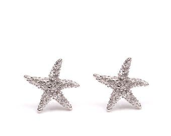 STARFISH earrings - 925 Silver earrings, star of the sea, starfish, stones