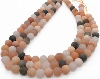 10mm Matte Sunstone Beads, Orange Sunstone Beads, Round Gemstone Beads, Wholesale Beads