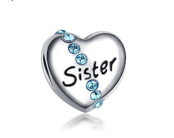 Silver SISTER Charm,European Beads,Rhinestones,Fit Pandora,Heart Charms,Jewelry Making,Bracelet Necklace Making,FREE SHIPPING,Worldwide