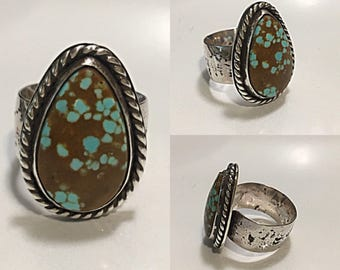 Turquoise Sterling Silver Ring (size 8-8.5)