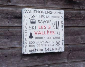 Ski sign - Les 3 Vallées - Wood Wall Decor - 31cm x 31cm - Ski Decor