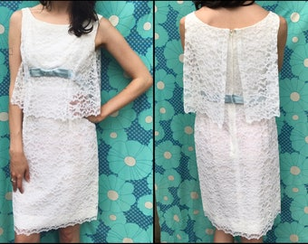 1960's White Lace Shift Dress with Baby Blue Bow