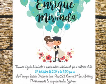 Printable wedding invitation, Printable Wedding Invitation.