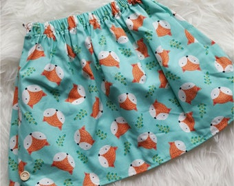 Turquoise Cotton Fox Skirt 4-5Y LAST ONE!!