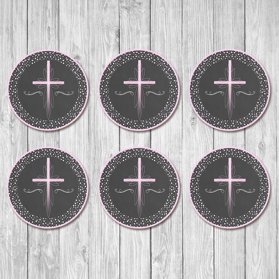 First Communion Cupcake Toppers - Pink Cross Chalkboard - First Holy Communion Toppers - First Communion - 1st Communion - Instant Download