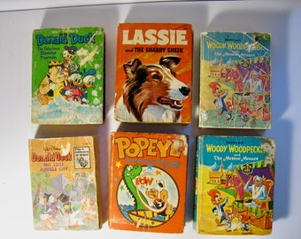 Lot of 6 Big Little Books, 1967-1975. Woody Woodpecker, Lassie, Popeye, Donald Duck. Instant collection of books from Whitman and Marigold