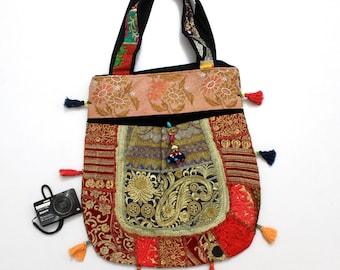Handmade Ethnic Designer Tribal Banjara Patchwork Embroidered Hippy Fashionable Stylish Trendy Hippie Gypsy Boho Bohemian Carry Bag I209