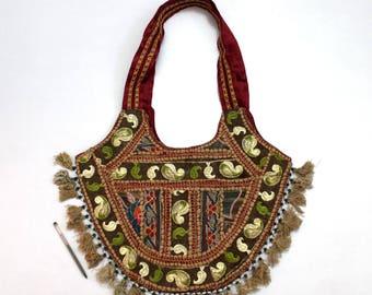 Handmade Ethnic Designer Tribal Banjara Patchwork Embroidered Hippy Fashionable Stylish Trendy Hippie Gypsy Boho Bohemian Shopper Bag F173