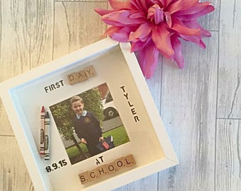 First day at school frame, personalised school frame, first day at school gift, first day at pre school, back to school frame.