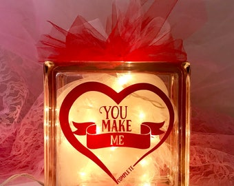 You Make Me Complete - Large Glass Block Light