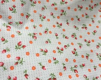 Very pretty blue, orange and red fabric 100% cotton poplin fabric UK