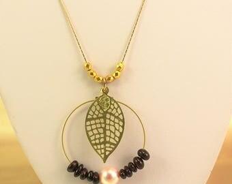 Necklace wedding Swarovski crystals and gemstones pendant with leaf filigree