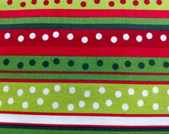 Christmas Stripes and Polka Dots on Red and Green Background