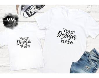 White V-Neck Shirt and Toddler T-Shirt Mockup, Matching Shirt Display, Short Sleeve White Tshirt Mockup, Styled Mock Up for Design Display