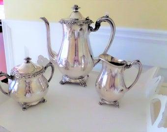 Vintage Silver Plate  Coffee Set by 1881 Rogers in GLENROSE Pattern