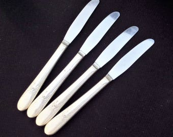 Vintage Silver Plate Dinner Knives by Wm Rogers 1940 BELOVED Pattern - set of 4