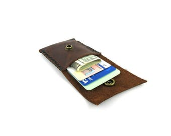 Handmade Leather Credit Card Wallet/Business Card Wallet/Coin Purse/Coin Pouch/Primitive Wallet/Minimalist/Leather Bill Fold/Money Clip