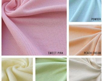 2x1 Rib Knit Fabric By the Yard (Wholesale Price Available By the Bolt) USA Made Premium Quality - 6130R - 1 Yard