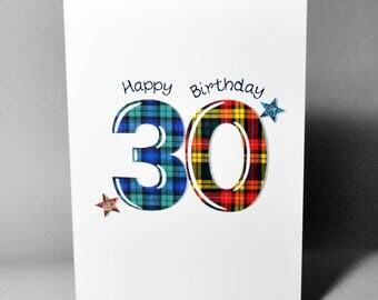 Tartan Number 30 Birthday Card WWTN30