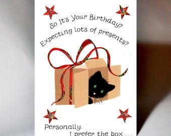 Birthday Cat in a Box Card WWBI132