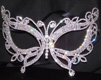 Silver Rhinestone Masquerade Butterfly Mask Mardi Gras Party W. Black Ribbon