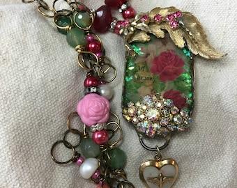 handmade, jewelry, grace, roses, vintage, locket,