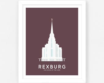 Rexburg LDS Temple Print - Maroon Digital Download || Wedding Gift || Anniversary Gift || Christmas Gift