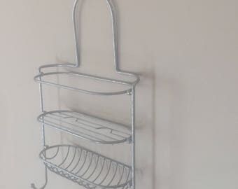 Metal Shower Caddy Three Tier Hanging Shelf Vintage Bathroom Decor