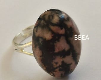 Ring adjustable 19mm rhodonite oval 13x18mm