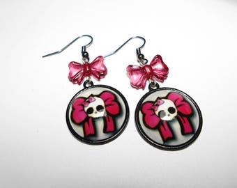 Rock - pink Skull earrings