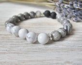 Essential Oil Diffuser Bracelet, Aromatherapy Jewelry, THE ELAINE, White Howlite, Stretch Bracelet, Diffuser Jewelry, LavenderAndStone