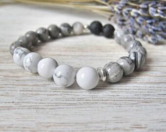 Essential Oil Diffuser Bracelet, Aromatherapy Jewelry, THE ELAINE, White Howlite, Stretch Bracelet, Diffuser Jewelry, FoxAndBearEssentials