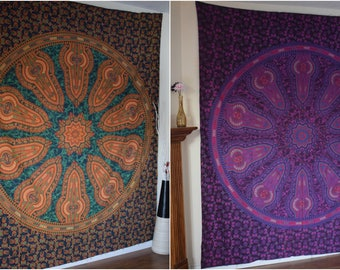 Lush Green and Purple Indian Mandala Tapestry