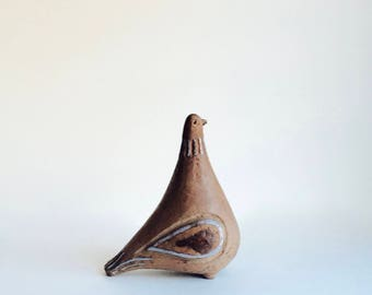 ELBOGEN POTTERY SWEDEN vintage mid century modern Scandinavian Studio Pottery stylised Bird Figurine