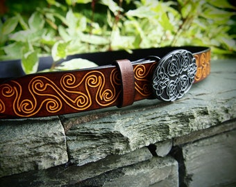 leather belt, celtic belt, viking bet, celtic spiral belt, viking leather