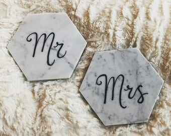 Mr and Mrs marble coasters