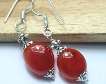 925 Sterling Silver Handmade Earrings Sterling Silver With Natural Carnelian  Gemstone