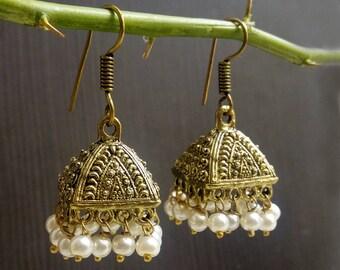 Ethnic jhukma earrings | Wedding wear tribal earring jhumka | Anniversary gift jewelry | Gift jewelry for girls | Dangle pearl earring | E98
