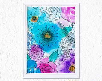 Abstract Watercolor floral with Pen Details, Watercolor Painting, Framed Watercolor florals, Watercolor Flowers