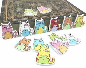 Set of 5 wooden cat buttons